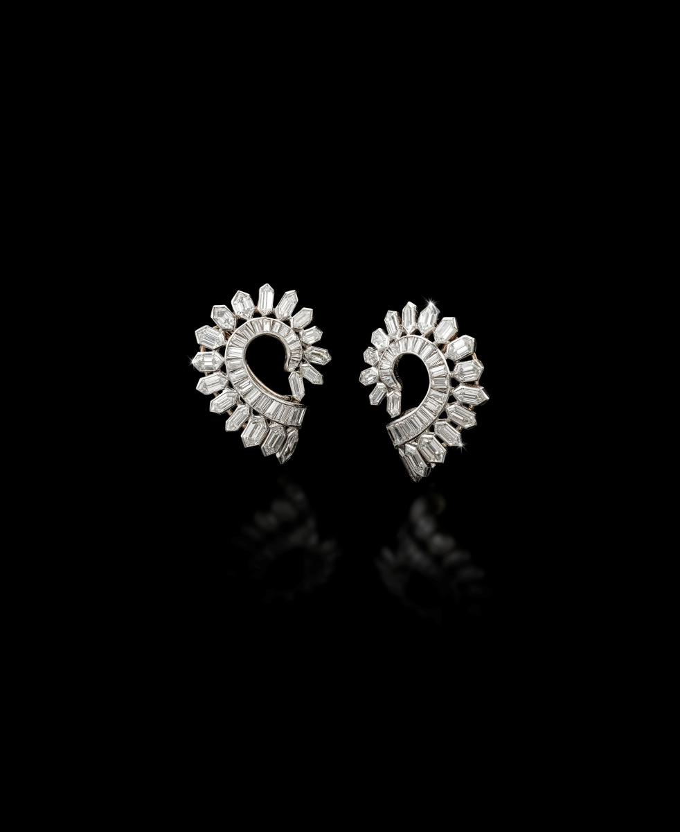Pair of diamond clip earrings by Boucheron, circa 1930