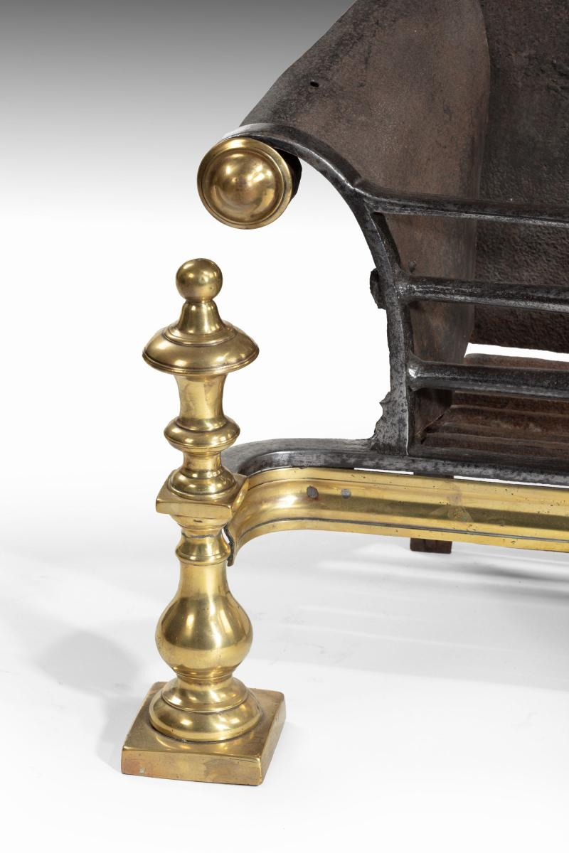 6609 Mid-18th Century Brass, Steel and Iron Firegrate