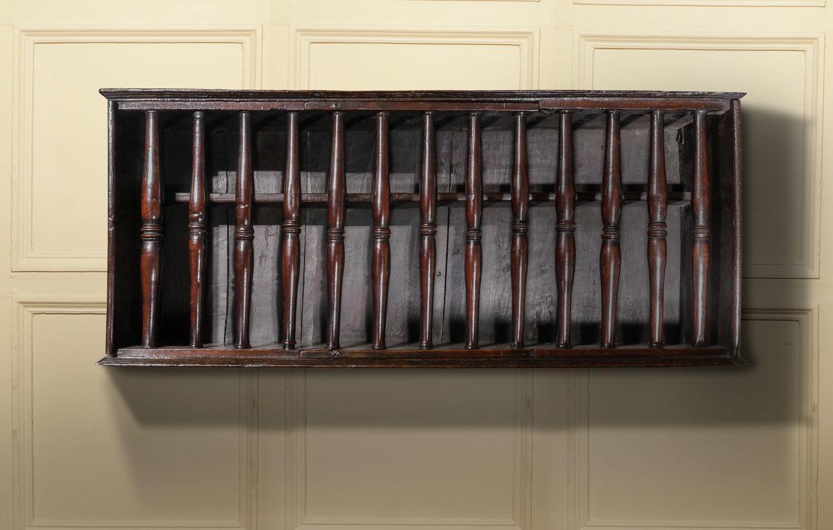 A Fine Charles II Oak and Cherry Wood Hanging Glass Case