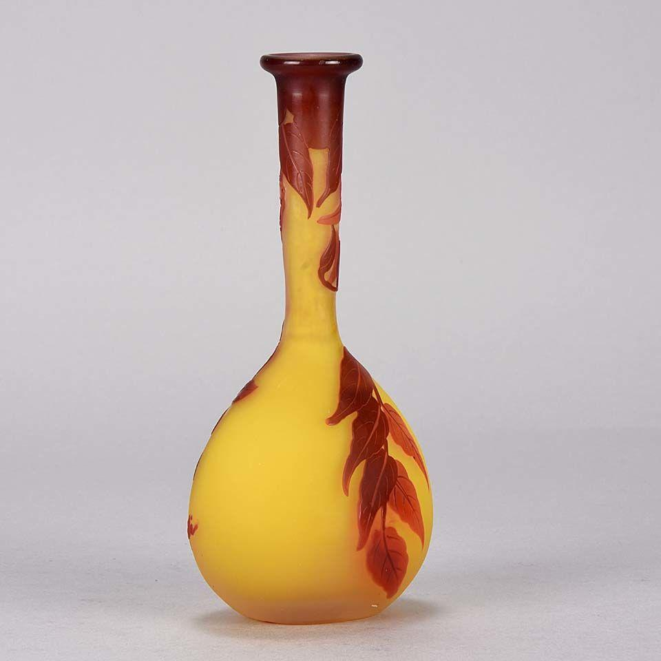 Art Nouveau French Cameo Glass Banjo Vase by Emile Gallé