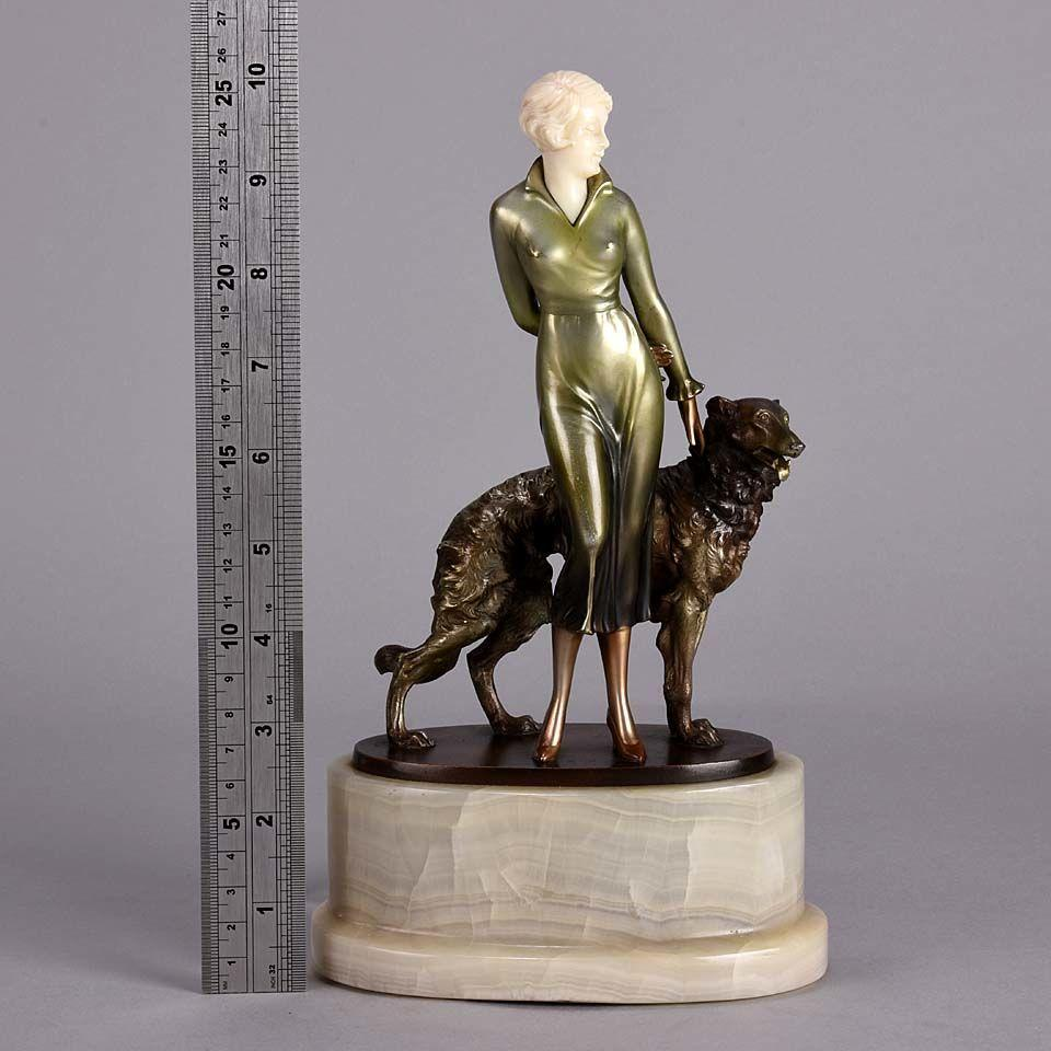 "Art Deco Cold Painted Bronze and Ivory Figure ""Lady & Borzoi"" by Josef Lorenzl"