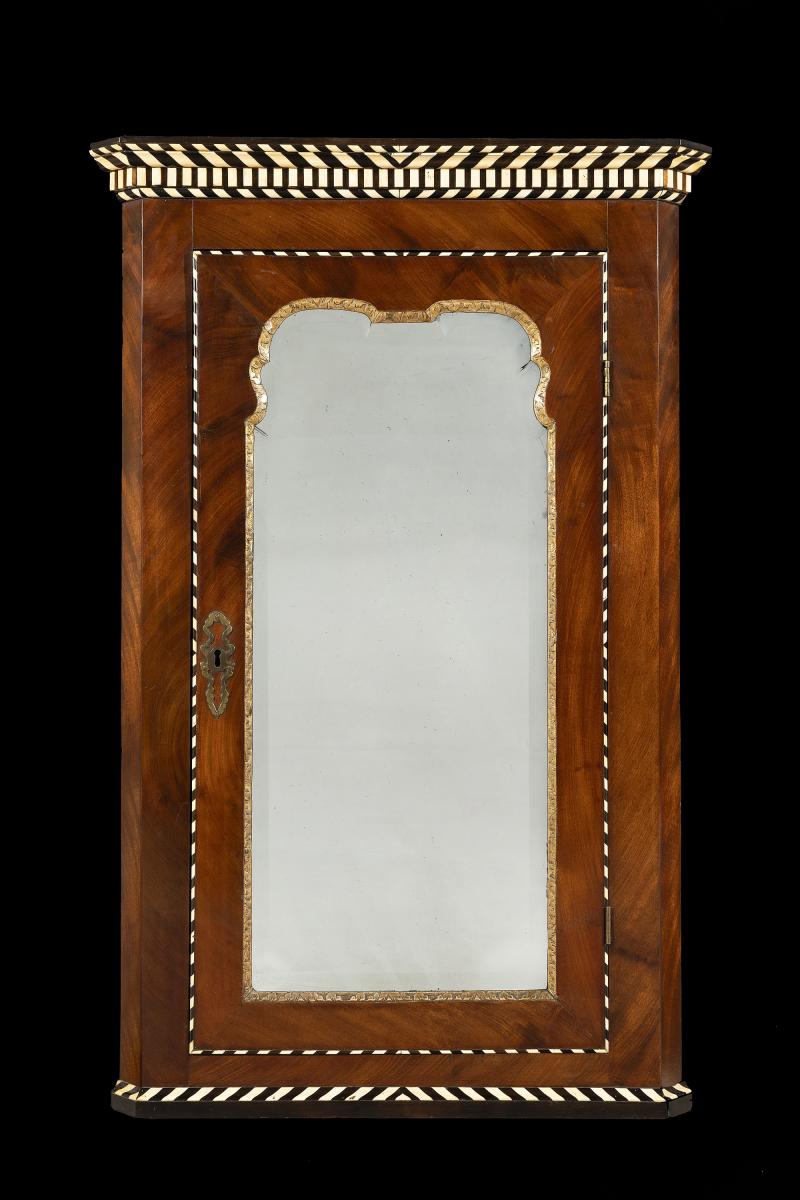 Rare Early 18th Century George II Mahogany Inlaid Hanging Corner Cupboard English Circa 1745