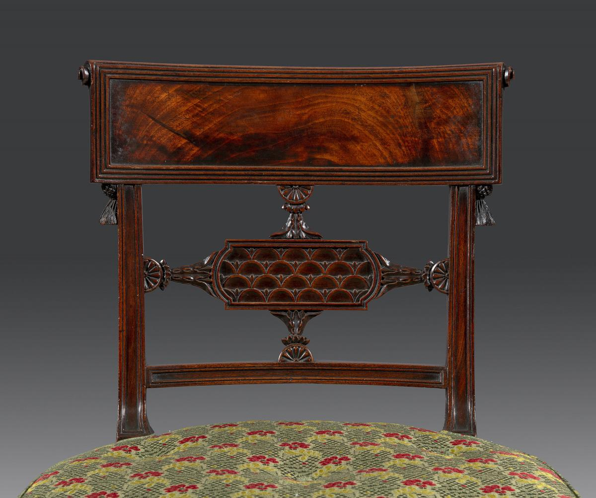 Fine Set of Eight George III Sheraton Period 18th Century Carved Mahogany Dining Chairs English 1790