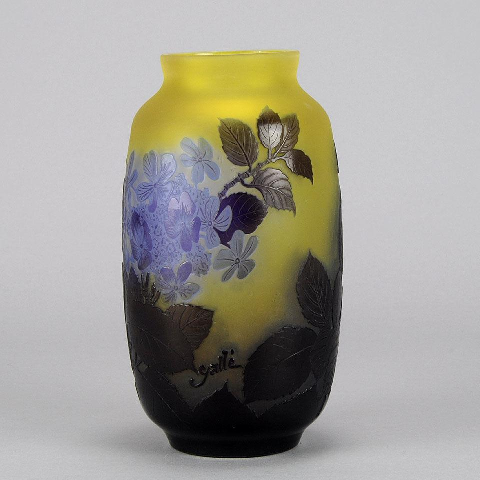 Art Nouveau Cameo Glass Blue Flower Vase by Emile Galle
