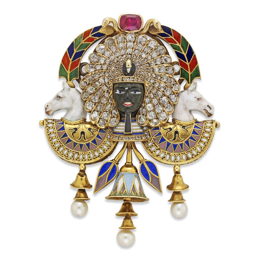 Egyptian Revival Pharaoh Portrait Brooch by Carlo Giuliano