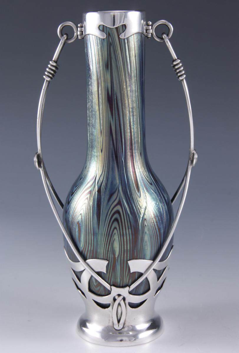 Loetz glass vase in silver mount  Austrian   Circa 1900
