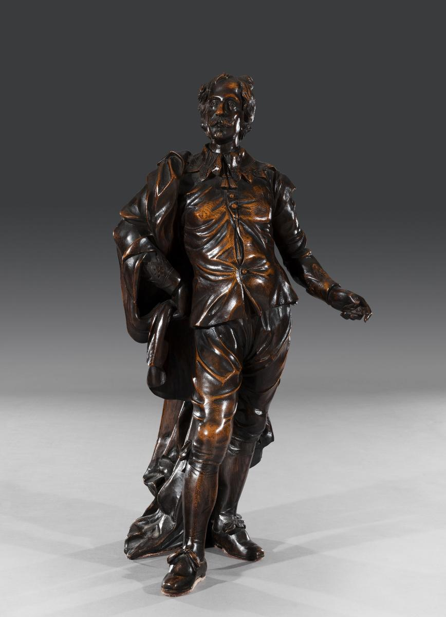 Superb 19th Century Victorian Carved Oak Figure of Sir Anthony Van Dyck English Circa 1850