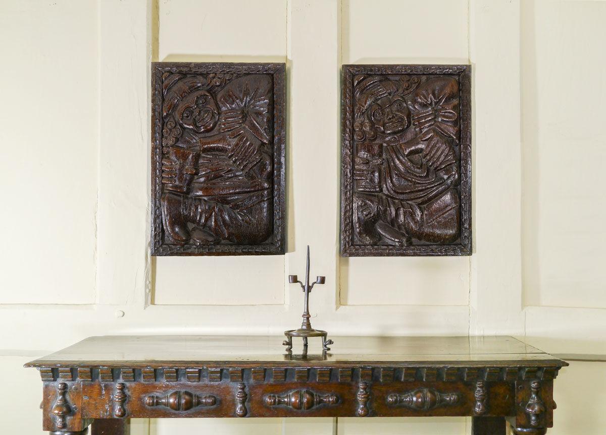 A Rare Pair of Tudor Oak Panels