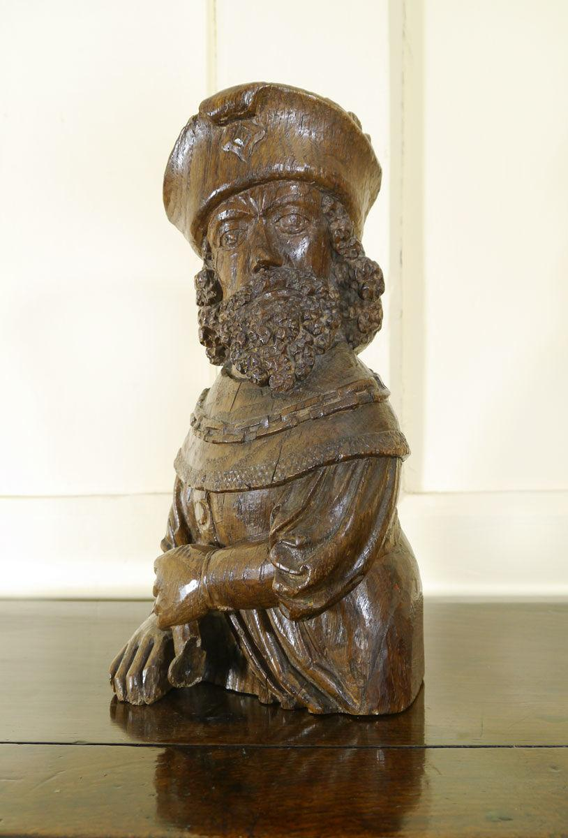 A Fine and Rare 16th Century Carved Oak Figure