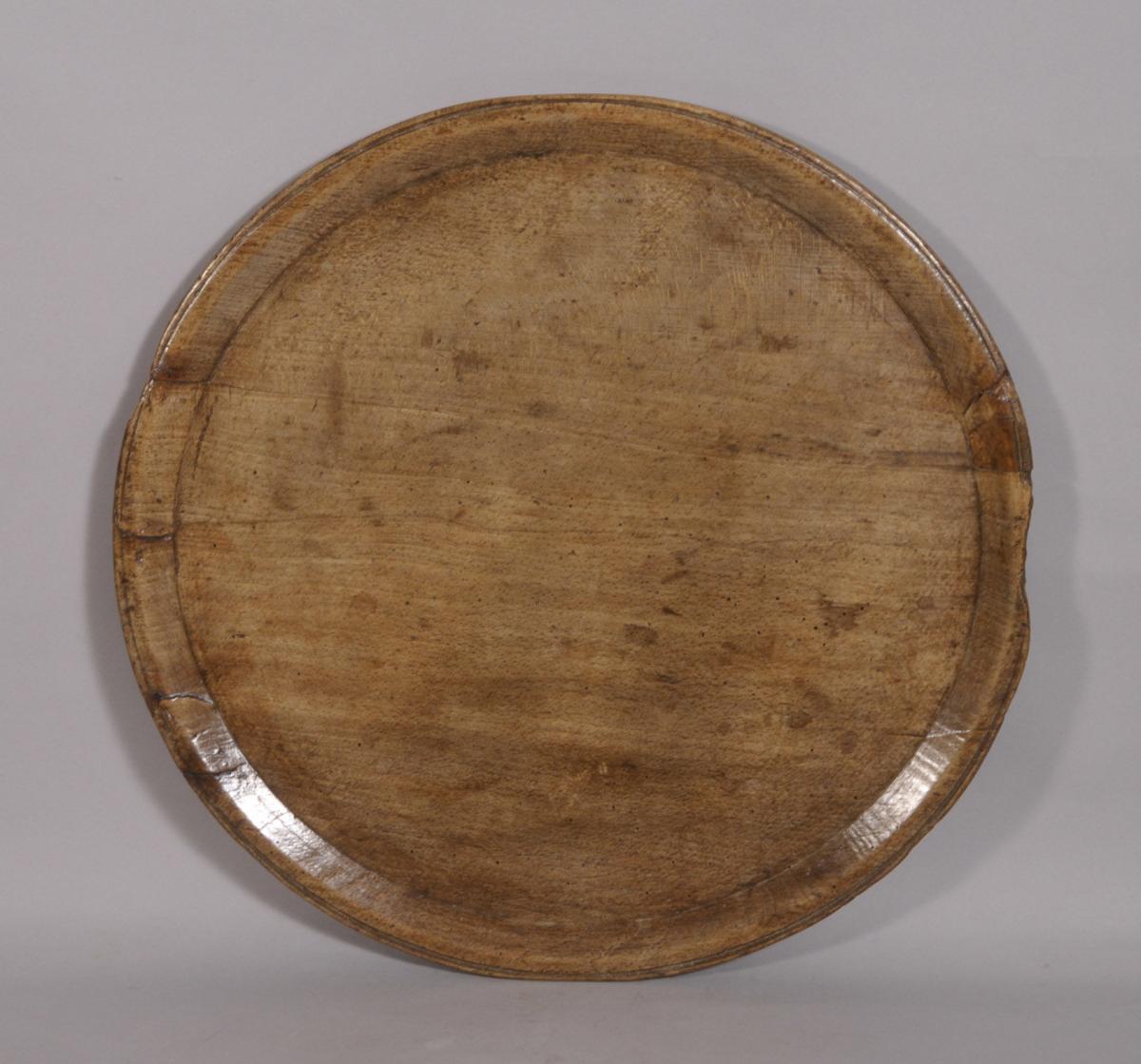 S/3455 Antique Treen 18th Century Beech Serving Dish
