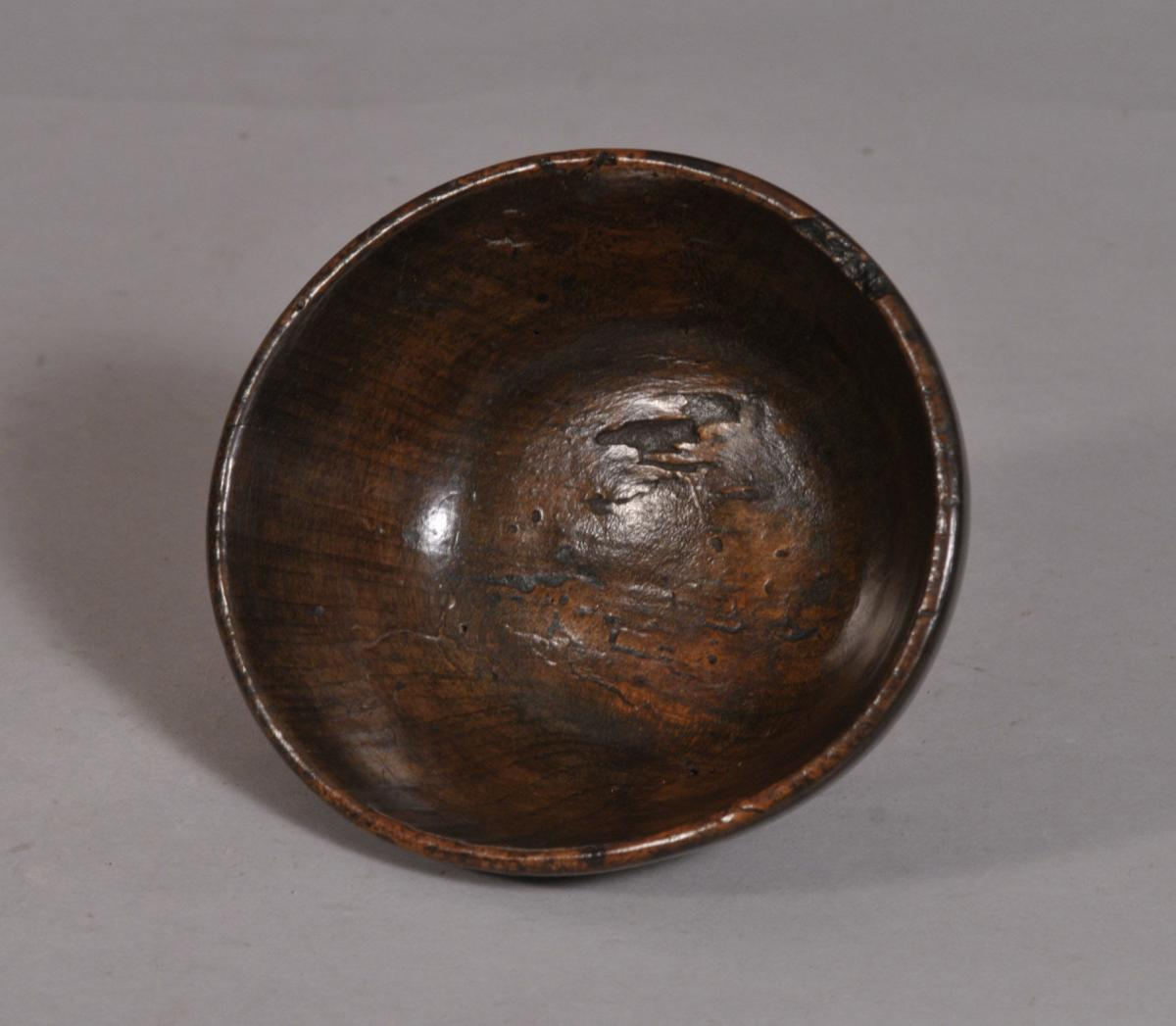S/3467 Antique Treen 18th Century Fruitwood Butter Cup