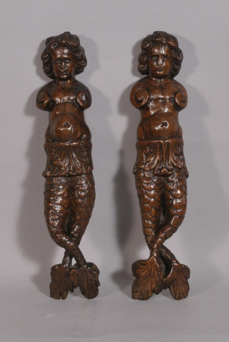 S/3530 Antique Pair of 17th Century Carved Oak Caryatids