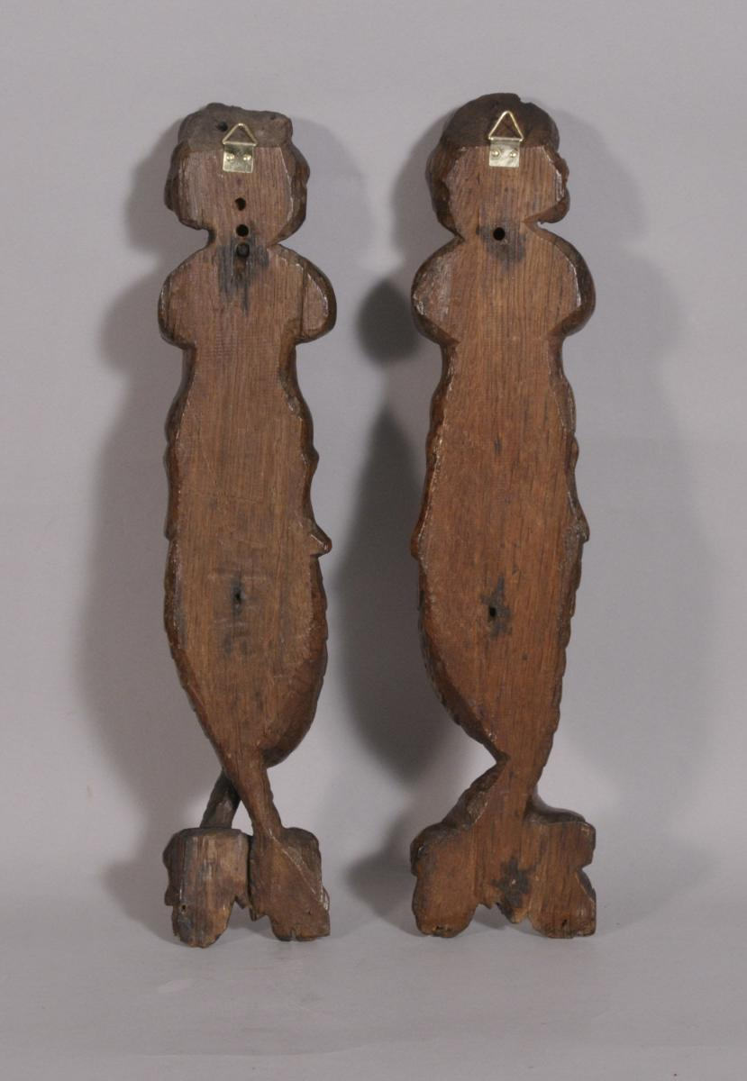 S/3530 Antique Pair of 17th Century Carved Oak Caryatids