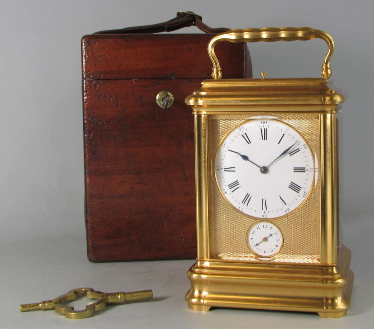 Drocourt Giant Grande-sonnerie carriage clock with box