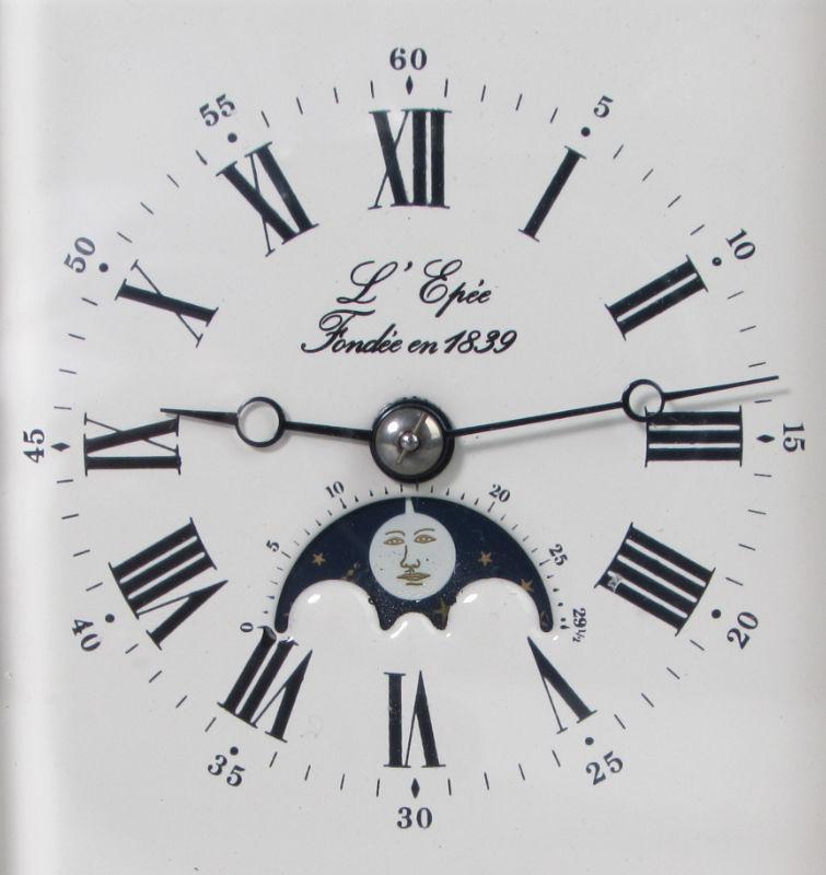 L'Epée Moonphase Carriage Clock with Tourbillon Escapement dial