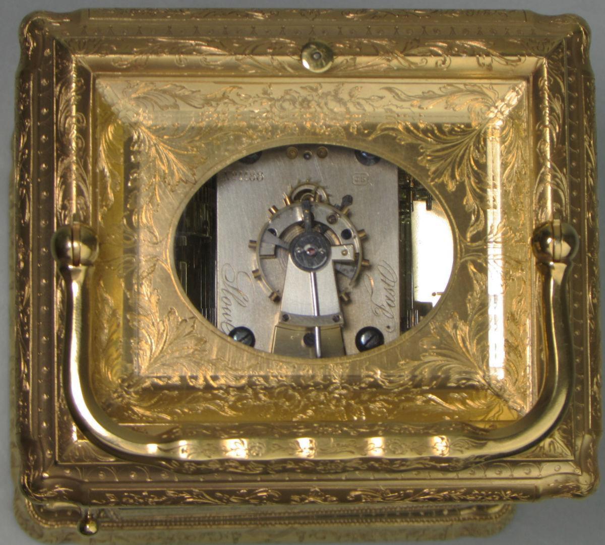 Soldano engraved gorge carriage clock escapement