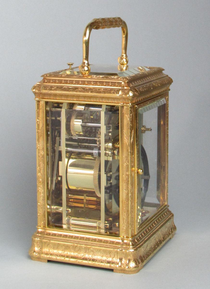 Soldano engraved gorge carriage clock side