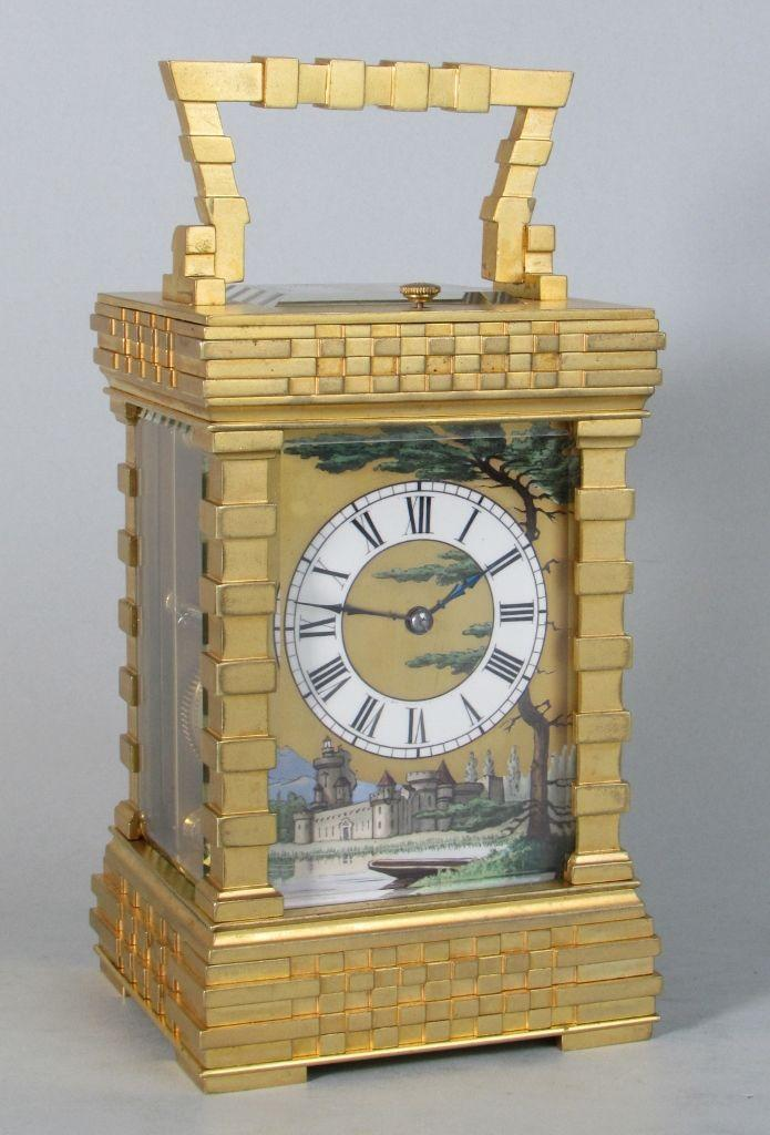 French porcelain dialled blockwork carriage clock 2