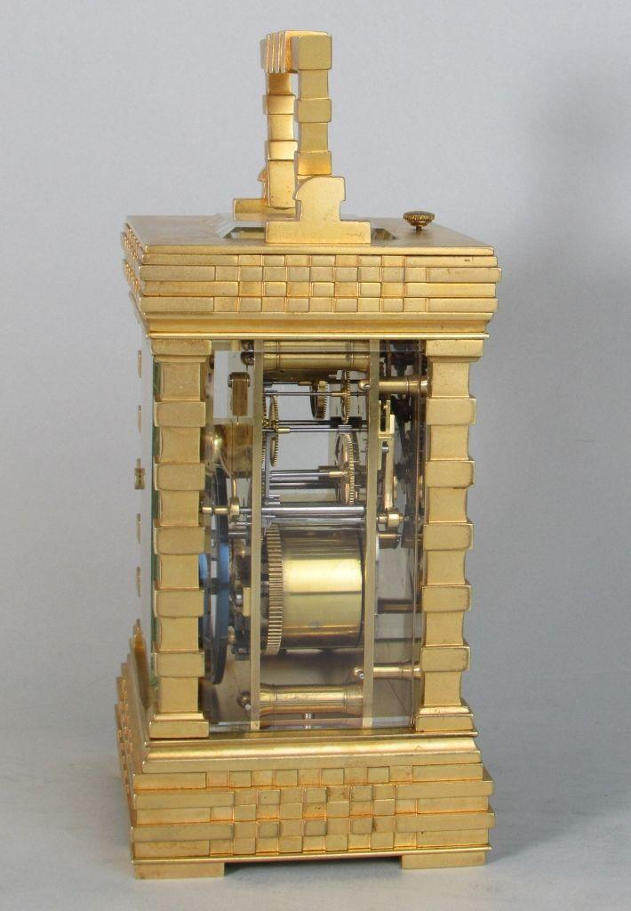 French porcelain dialled blockwork carriage clock side