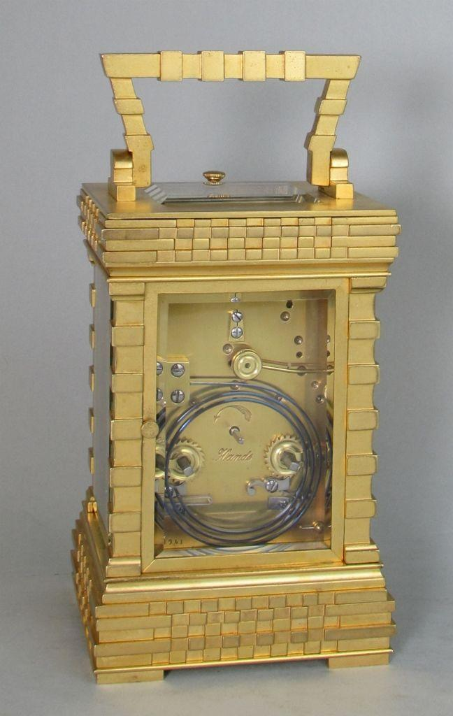 French porcelain dialled blockwork carriage clock rear
