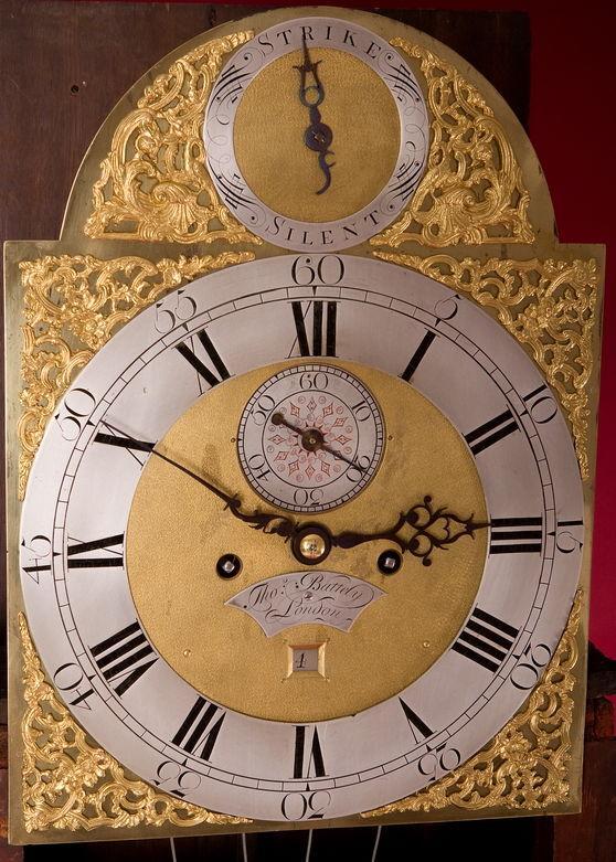 Thomas Battely London Mahognay Longcase Clock dial
