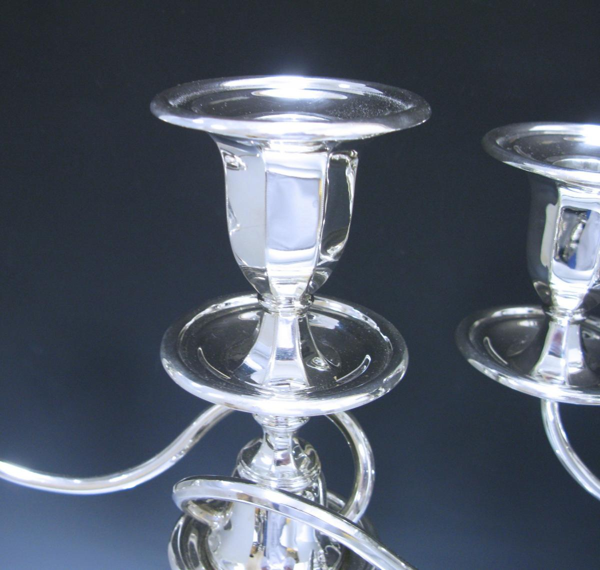 Pair of George V Antique Sterling Silver Three-Light Candelabra