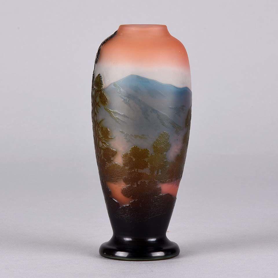 Art Nouveau Cameo Glass Mountain Landscape Vase by Emile Gallé