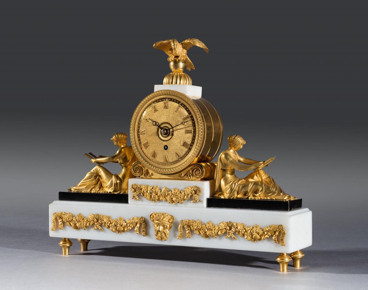 Regency Period White Marble Bronze & Gilt Bronze Mantel Timepiece
