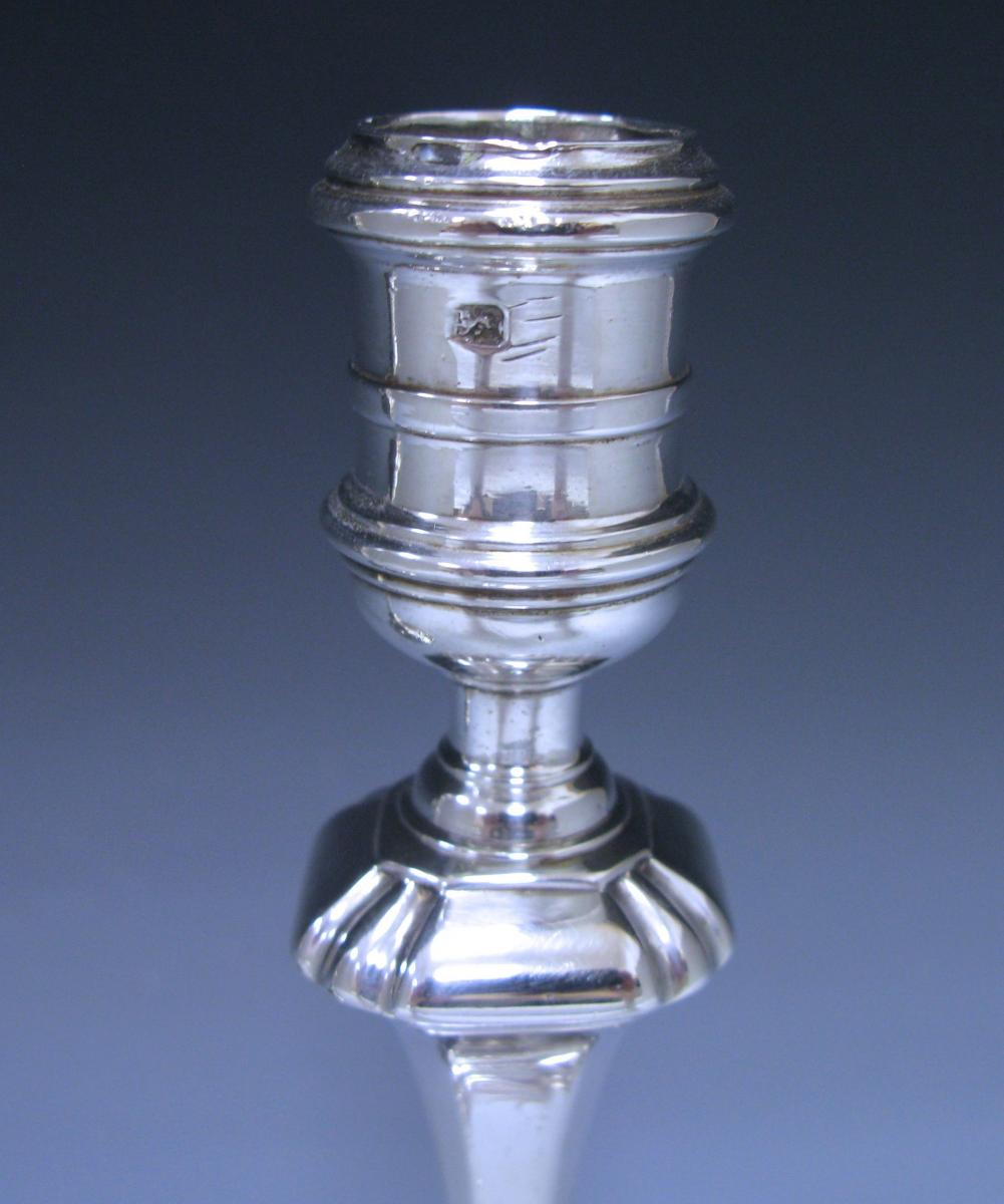 Pair of George II Cast Sterling Silver Candlesticks
