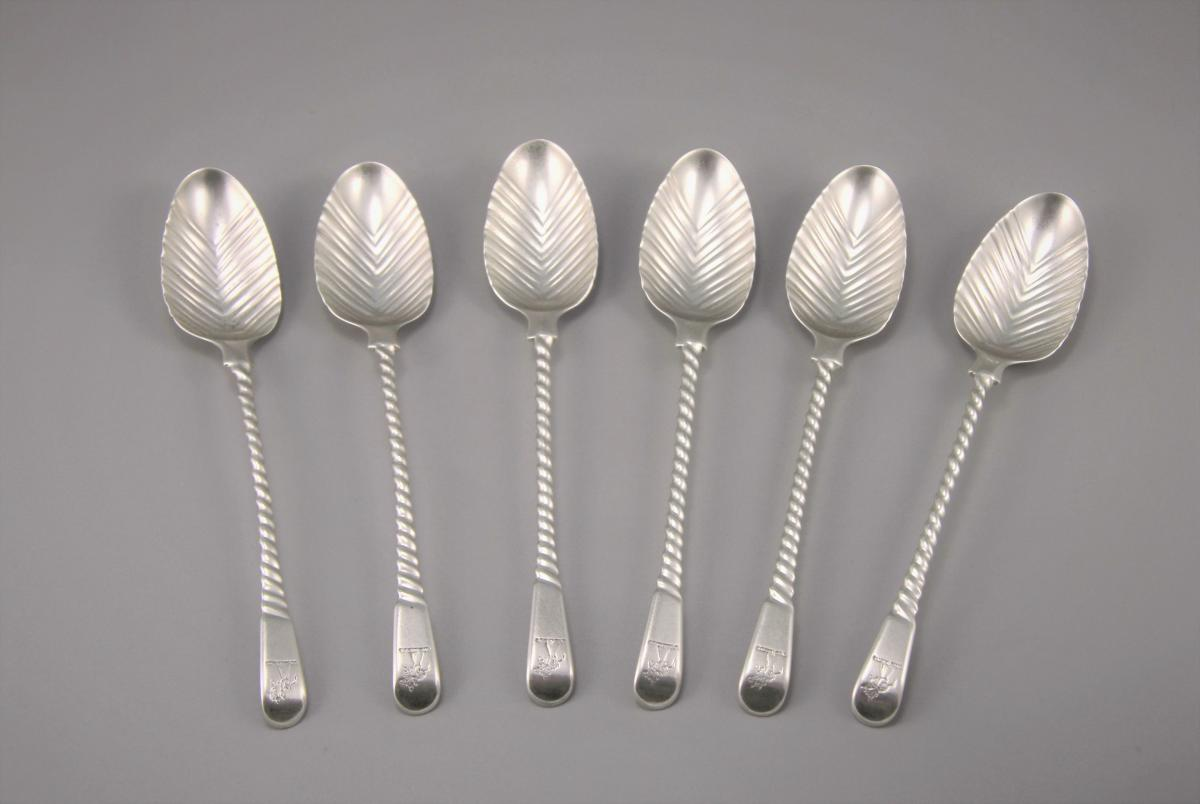 GEORGE III Set of Six Spiral Handled Teaspoons by Thomas & Wm. Chawner.