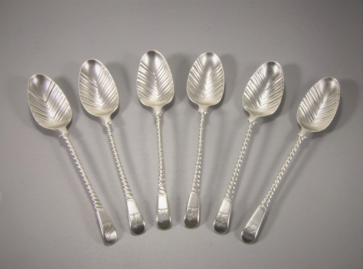 GEORGE III Set of Six Spiral Handled Teaspoons by Thomas & Wm. Chawner.