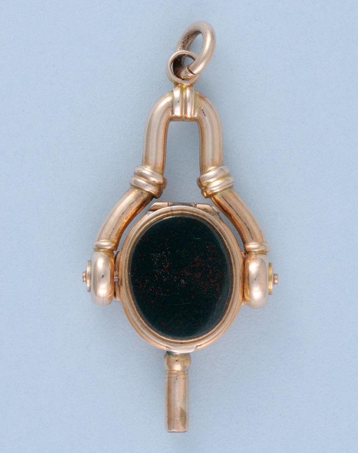 Rare Stone Set Gold Folding Watch Key