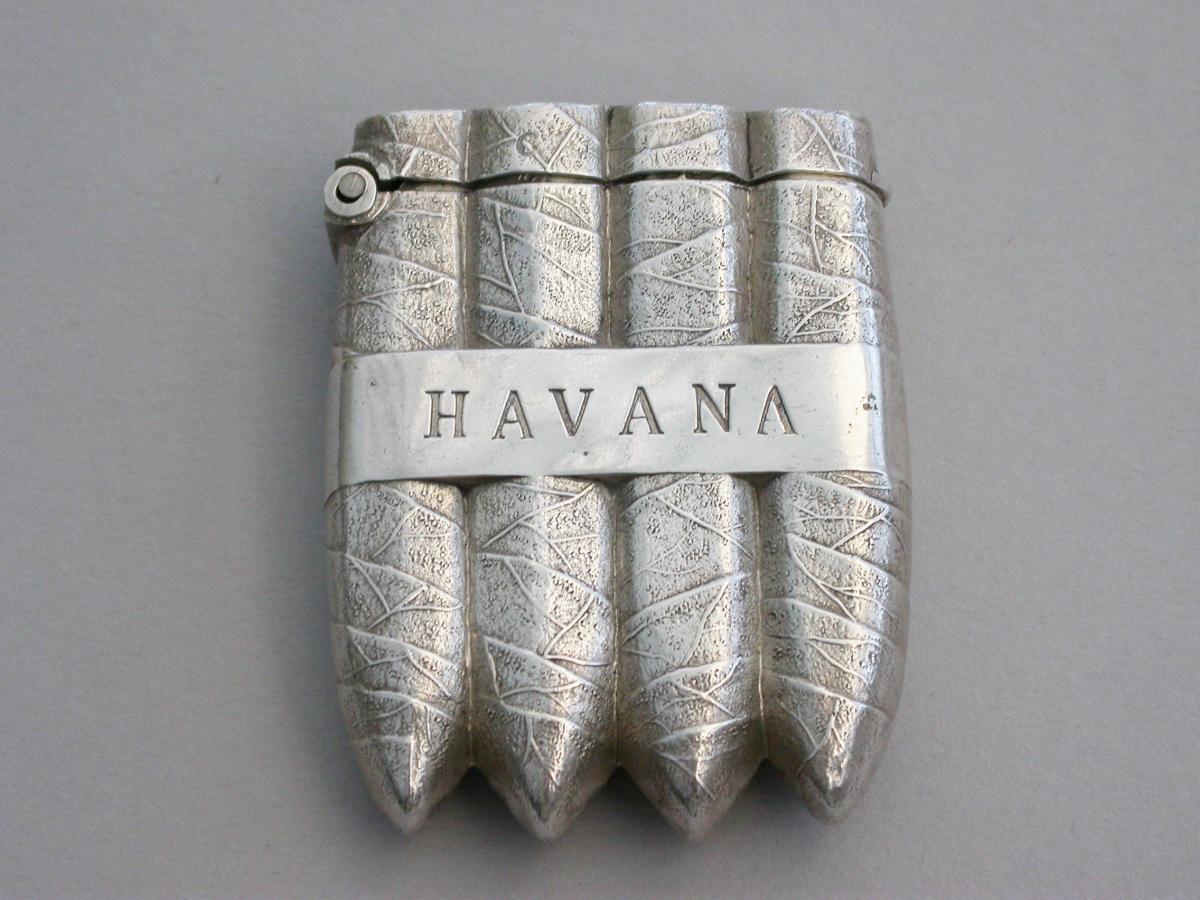 Victorian Novelty Silver Havana Cigar Vesta Case