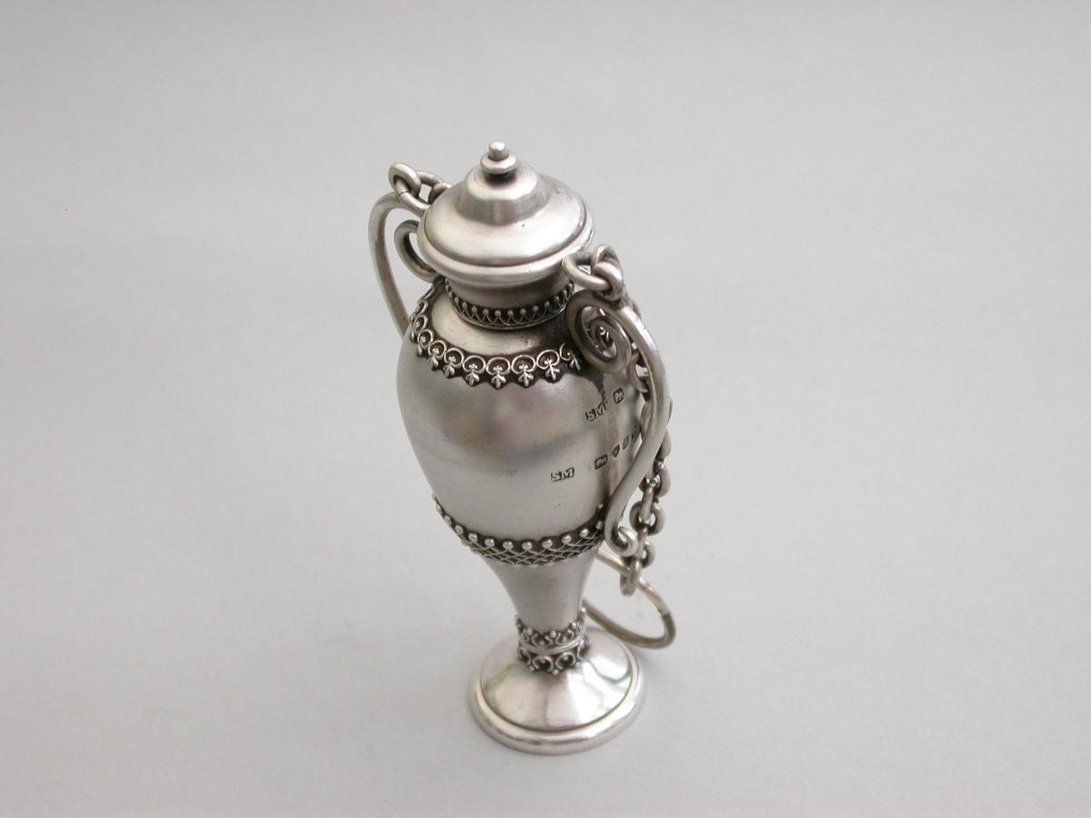 Victorian Novelty Silver Vase Shaped Scent Bottle