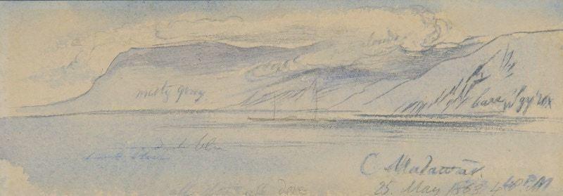 Cape Malawar, Greece, Edward Lear, R.A. (British, 1812-1888)