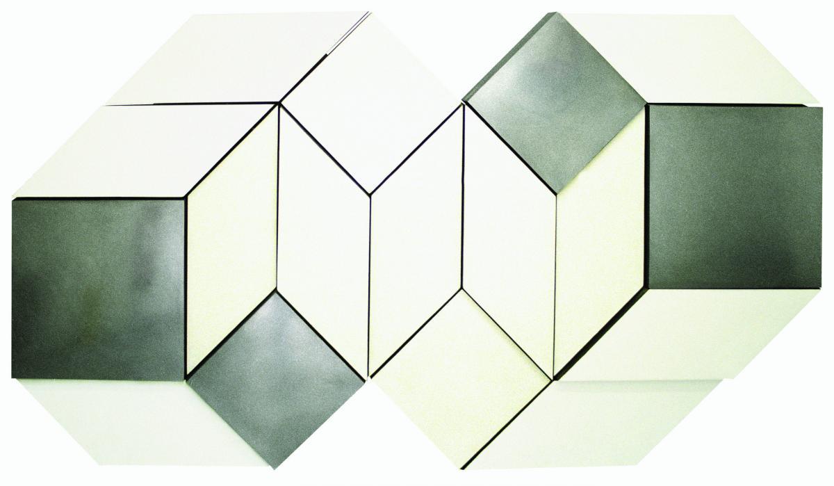 MALCOLM HUGHES (1920-1997) White, Grey & Aluminium Additive-unit Relief
