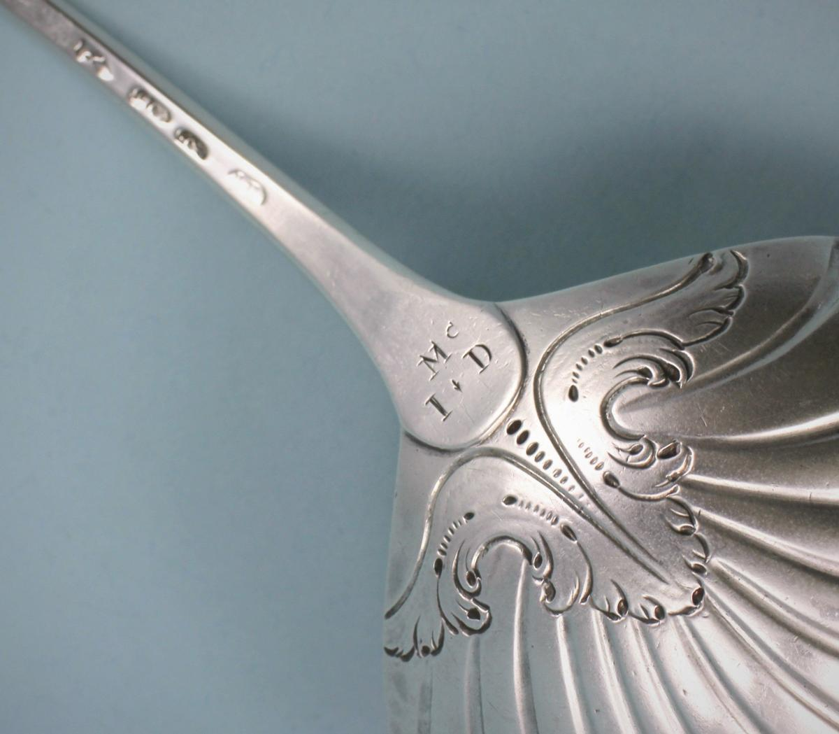 GEORGE III IRISH Sterling Silver Hook End Soup Ladle by John Loughlin. Dublin 1765.