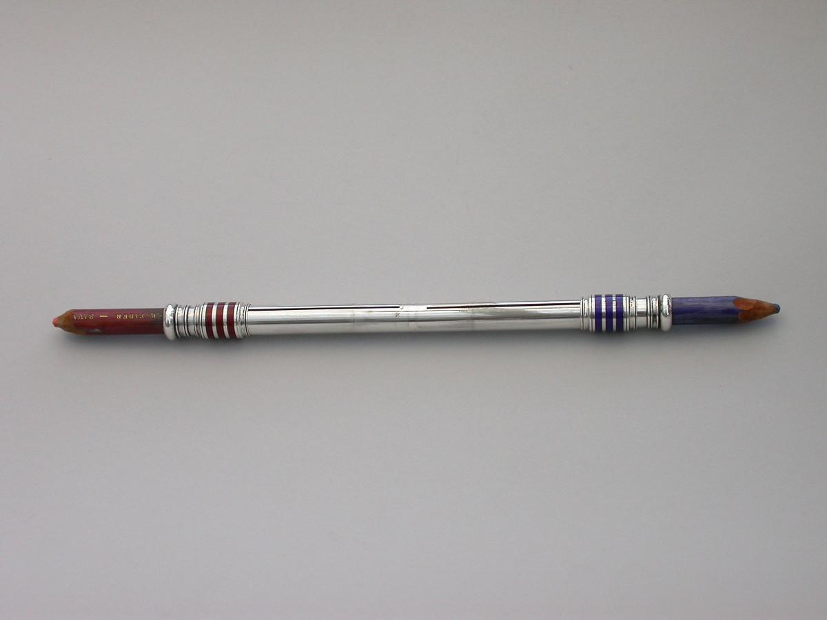 Large Victorian Silver & Enamel Oversize Sliding Red & Blue Editing Pencil