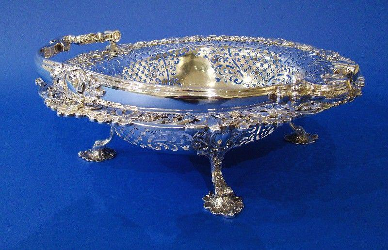 George II Silver Large Hand-Pierced Swing-Handle Basket