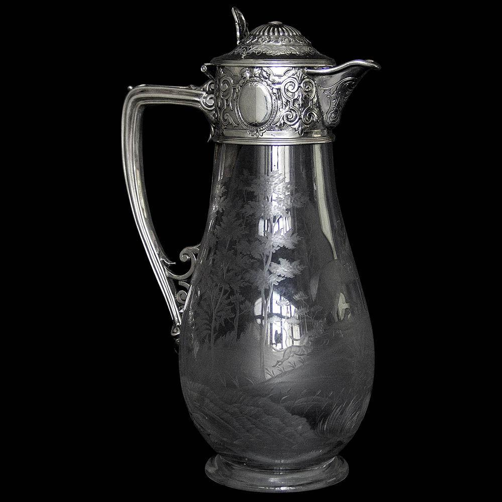 "Antique Victorian Silver Mounted Etched Glass ""Hunting Scene"" Claret Jug"
