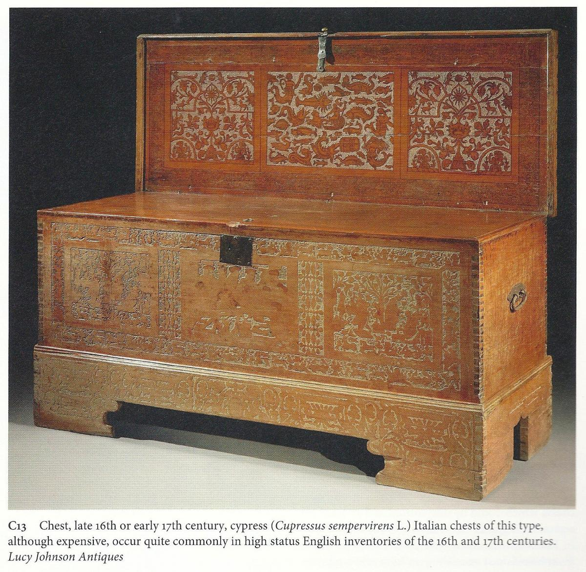 Large, museum-quality, late-16th century, cedar, Venetian, cassone on its original stand ; the sea creature ornament probably dr