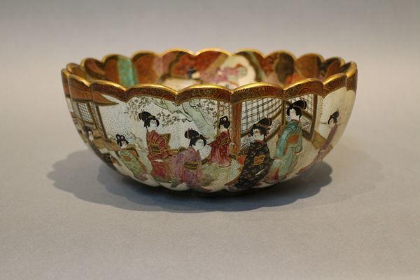 A 19th century japanese satsuma bowl of ribbed form