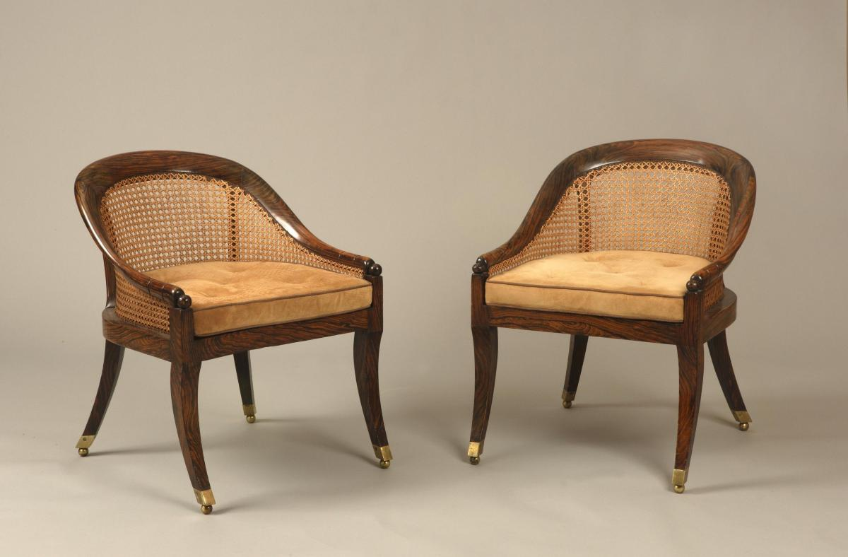 English Regency Period Simulated Rosewood Small Bergere Library/Bedroom Chairs