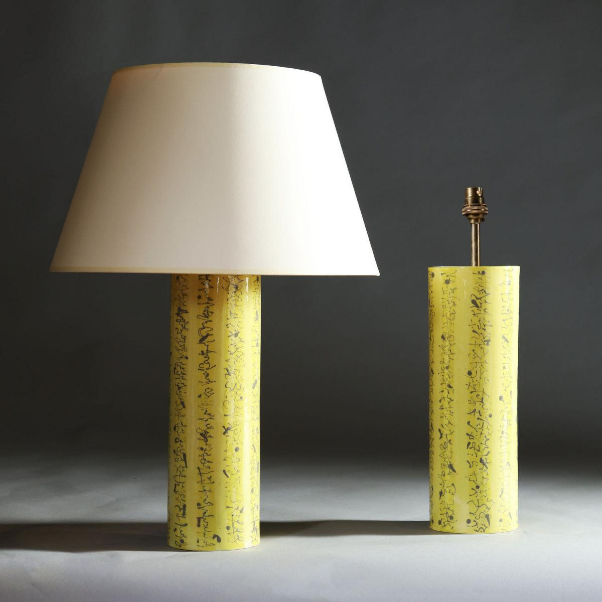 A Pair of Yellow Art Pottery Vases