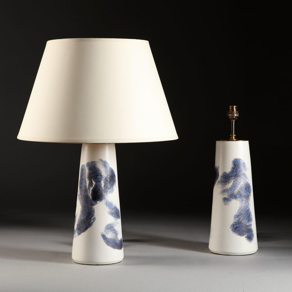 A Pair of Blue and White Art Pottery Lamps