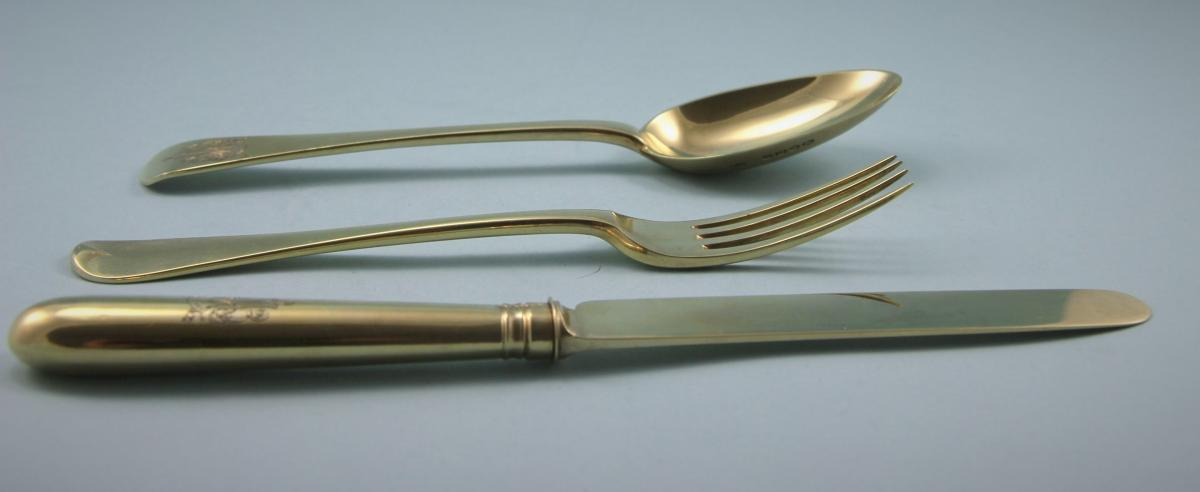 VICTORIAN Silver Gilt Child's Set by Francis Higgins. London 1868