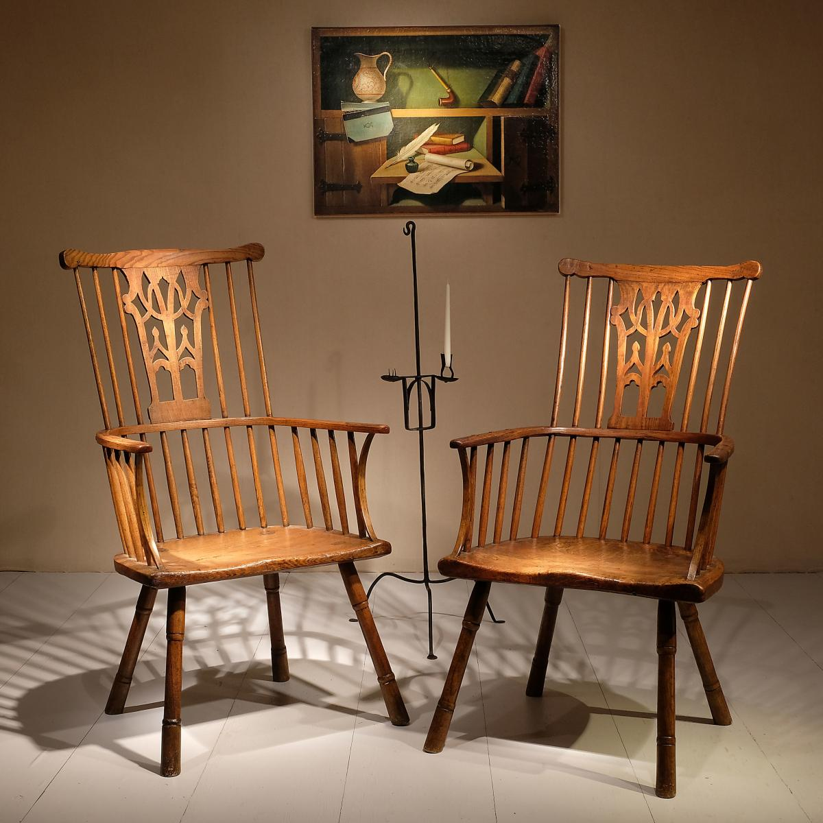 Pair of 18th century Chippendale period Gothic Comb Back Windsor Chairs