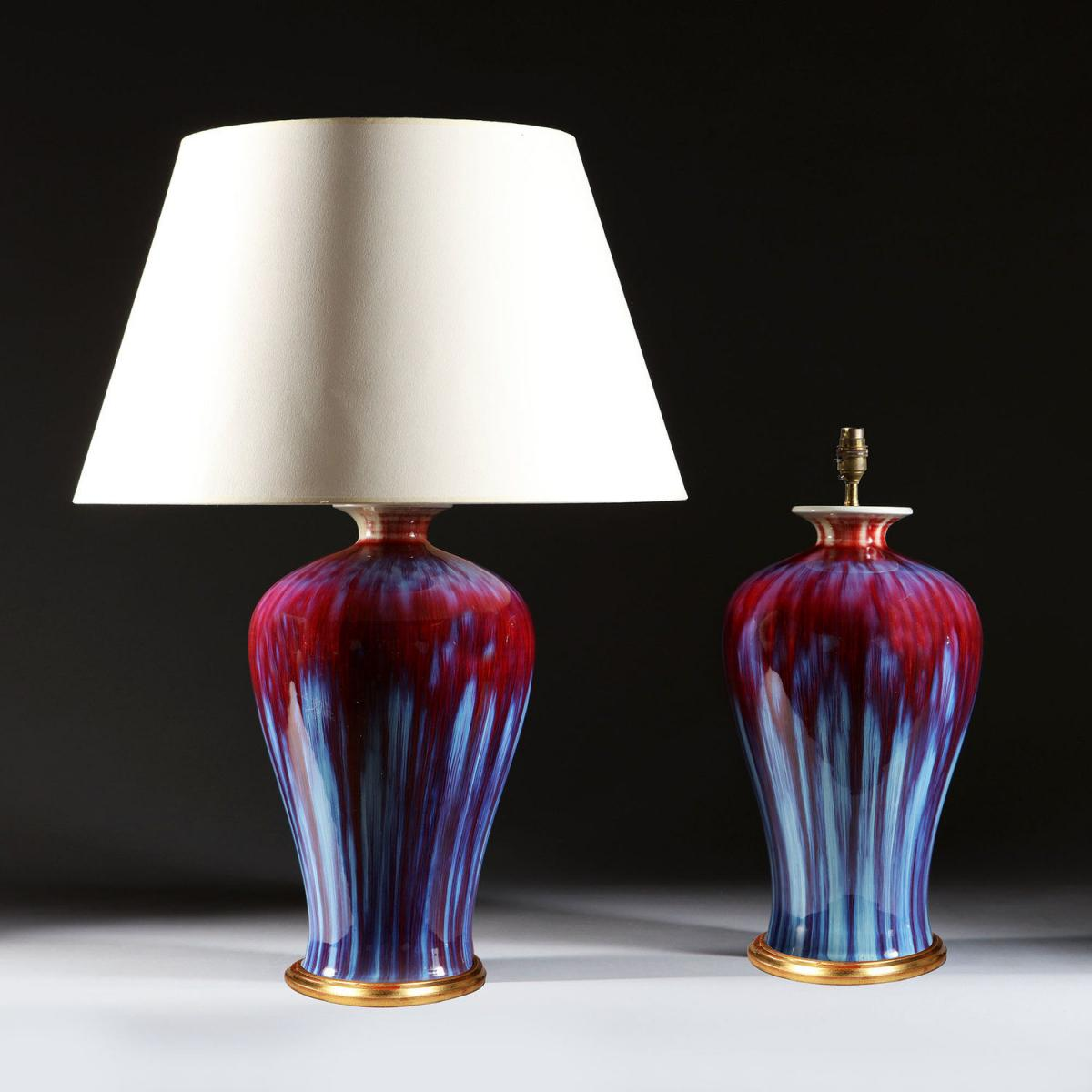 A Pair of Flambe Vases as Lamps