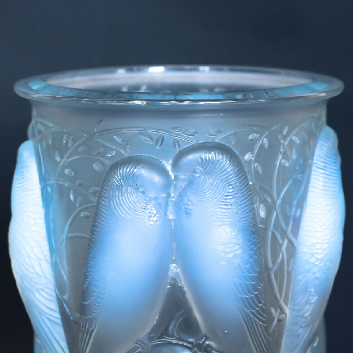 Ceylan, a frosted and opalescent glass vase. Hand etched R Lalique France to underside. Repolishing to rim and base.  Marcilhac,