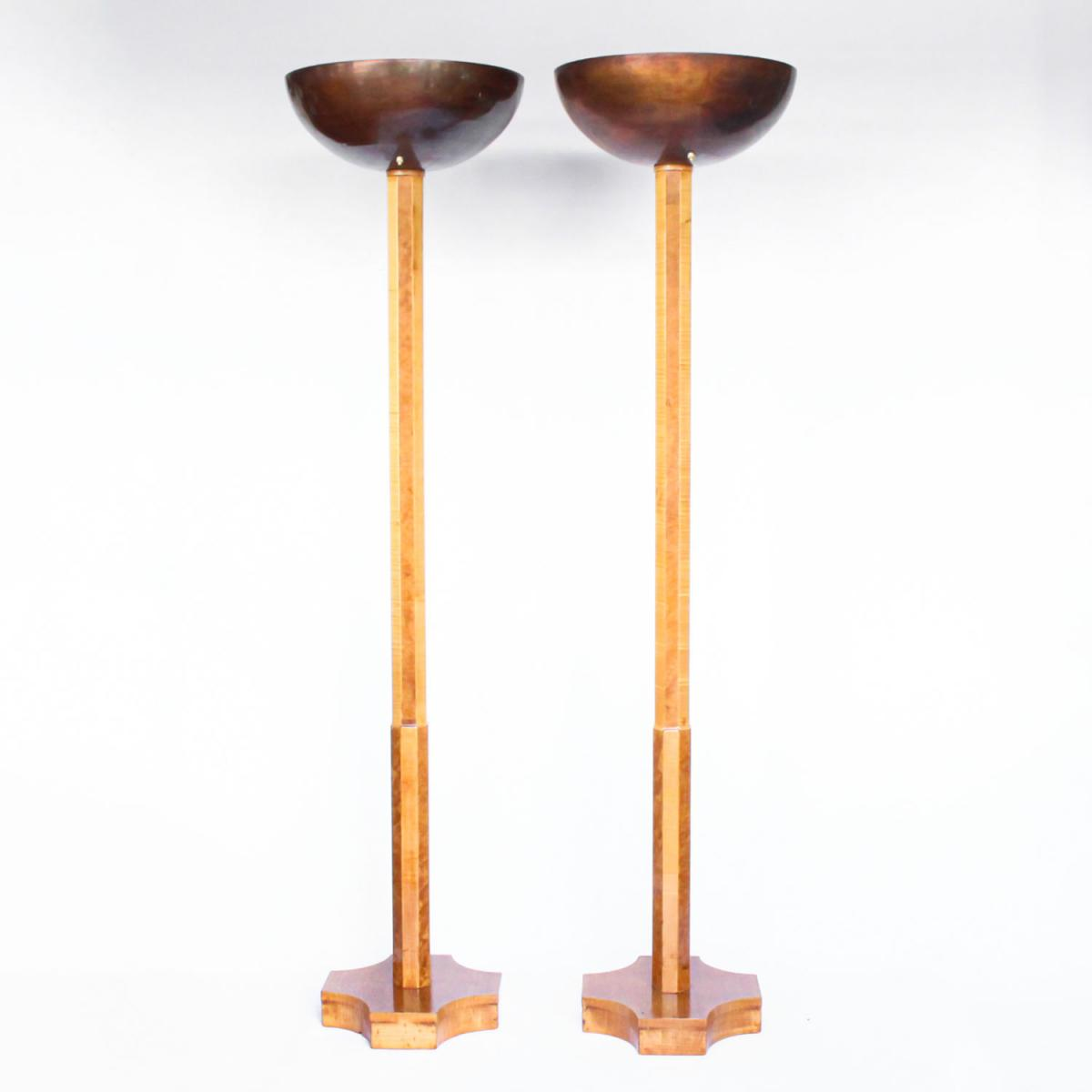 Art Deco, pair of satin wood and walnut uplighter lamps. Original copper, domed shades.  Fully refurbished, re-wired.